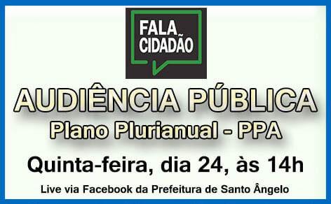 PPA tem audiência pública virtual nesta quinta-feira