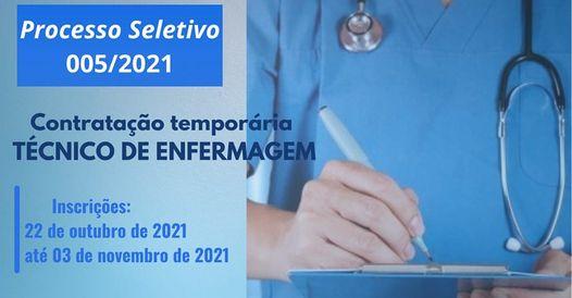 PUBLICADO EDITAL PARA PROCESSO SELETIVO DE TÉCNICO EM ENFERMAGEM