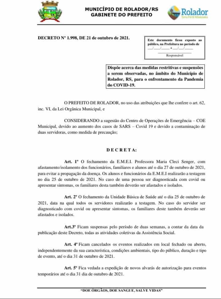 NOVO DECRETO MUNICIPAL PARA ENFRENTAMENTO DA PANDEMIA COVID-19