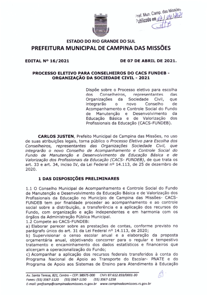 EDITAL Nº 16 - PROCESSO ELETIVO CACS FUNDEB - 2021